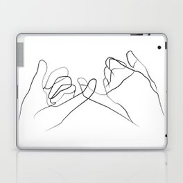 Pinky Swear Printable, One Line Drawing Print, Black White Hands Artwork, Hand Poster Laptop & iPad Skin