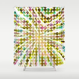 geometric circle abstract pattern in yellow pink blue Shower Curtain