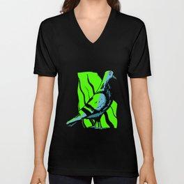 Dove Bird Green Neon Epic Light Halo Unisex V-Neck