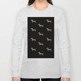 Dachshund Dog Gold Glitter Pattern Long Sleeve T-shirt