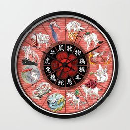 Okami Brush Gods Zodiac Wheel Wall Clock