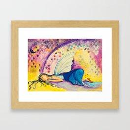 Dreaming Fairy - Gold Lotus Oracle Series Framed Art Print