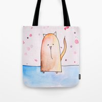 polkadot Tote Bags featuring Polkadot Cat by Jessy Belanger