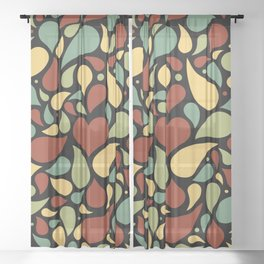 Heart surrounded by drops black pattern Sheer Curtain