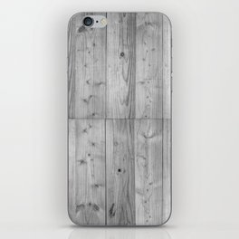 Wood Planks in black and white iPhone Skin