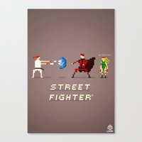street fighter Canvas Prints featuring Pixel Art Street Fighter by LoweakGraph
