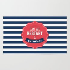 Can we restart summer nautical text quote white and blue stripes pattern Rug