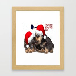Puppy White Christmas I Saw Mummy Kissing Santa Claus Framed Art Print