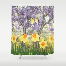 goldfinches, lilacs, & daffodils Shower Curtain