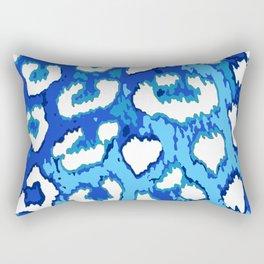 Blue and White Leopard Spots Rectangular Pillow
