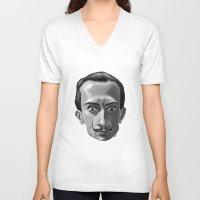 salvador dali V-neck T-shirts featuring Salvador Dali by Kostas Roussos
