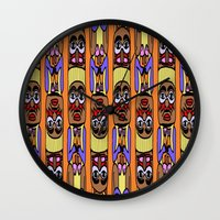 totem Wall Clocks featuring Totem by Veronica Ventress