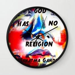 Gandhi Spiritual Quotation God Has No Religion Wall Clock