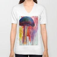 mushrooms V-neck T-shirts featuring Mushrooms by Lynnea Pennington