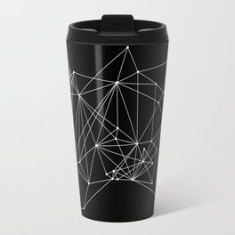 Black Geometric Dots and Lines Travel Mug