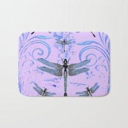 DELICATE BLUE & LILAC DRAGONFLIES ABSTRACT ART Bath Mat
