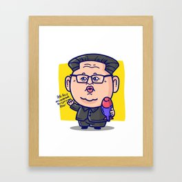 Kim Jong Un Loves His Pillow Framed Art Print