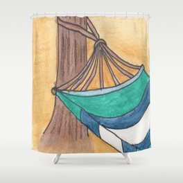 Just Swaying Away-Watercolor Hammock Design Shower Curtain