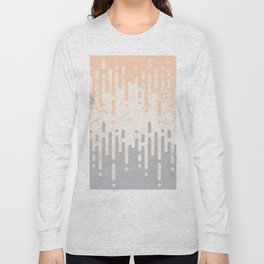 Marble and Geometric Diamond Drips, in Grey and Peach Long Sleeve T-shirt