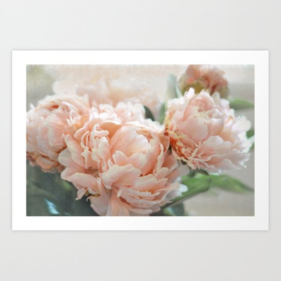 Peach Peonies Art Print