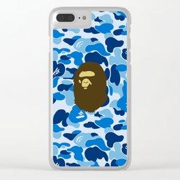 BAPE APE ON BLUE Clear iPhone Case