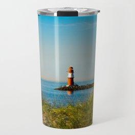 Red lighthouse in Warnemünde Travel Mug