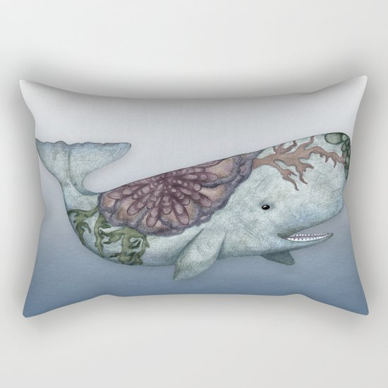 Whale in the Deep - a hand drawn illustration Rectangular Pillow