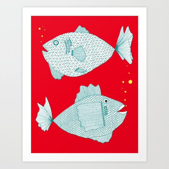 Two Old Fish Art Print