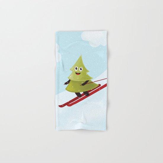 Happy Pine Tree on Ski Hand & Bath Towel