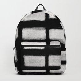 Brush Strokes Horizontal Lines Off White on Black Backpack