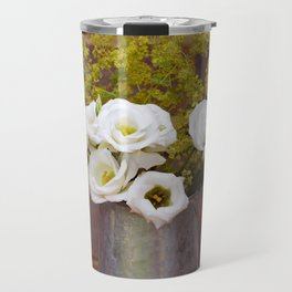 White gentians in rustic pitcher Travel Mug