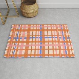 Retro Plaid Pattern in Orange, Pink, and Blue Rug