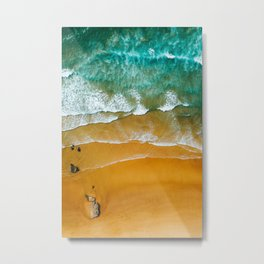 Ocean Waves Crushing On Beach, Drone Photography, Aerial Photo, Ocean Wall Art Print Decor Metal Print