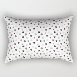 Watercolor dots and hearts in gray and red pattern Rectangular Pillow