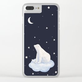 white bear on the cloud Clear iPhone Case