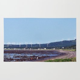 Beach and Wind Turbines Rug