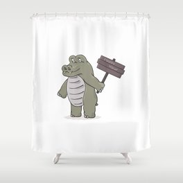 hippopotamus with happy hour sign Shower Curtain