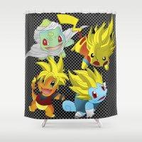 dragon ball z Shower Curtains featuring Poke-Ball Z by Arqhfredo