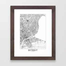 Detroit White Map Framed Art Print