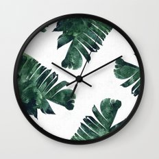 Banana Leaf Watercolor Pattern #society6 Wall Clock