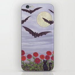 bats, zinnias, and black cat iPhone Skin