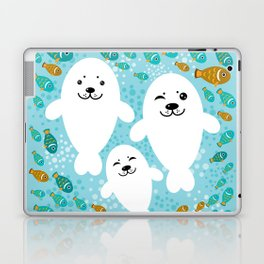 happy family of white seals and fish on a blue background. Laptop & iPad Skin