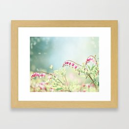 Bleeding Heart Flower Photography, Pink Blue Green Aqua Pastel, Floral Nursery Nature Spring Framed Art Print