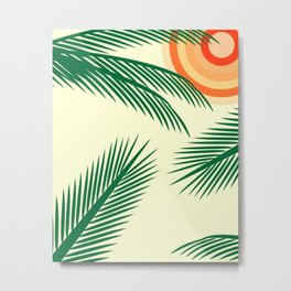 Tropical Coconut Leaf and Sun Metal Print