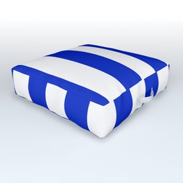 Cobalt Blue and White Wide Circus Tent Stripe Outdoor Floor Cushion