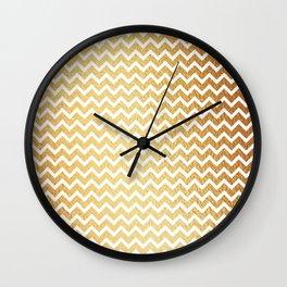 White chevron on Gold background Wall Clock