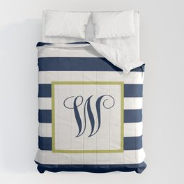 Monogram Letter W in Navy Blue and Stripes Comforters