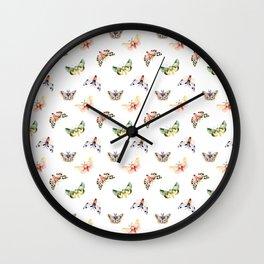 Autumn Moths Pattern Wall Clock