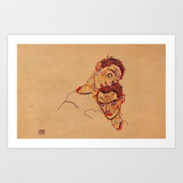 Egon Schiele - Double Self Portrait  Art Print