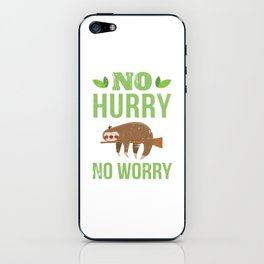 No Hurry No Worry Distressed Cute Sloth Design iPhone Skin